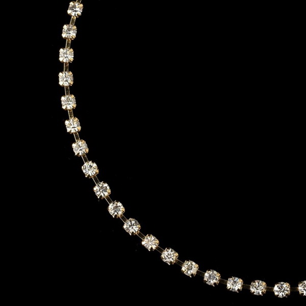 Gold Clear Rhinestone Anklet 19000