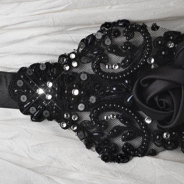 Black Floral Bead & Sequin Sash Belt 1