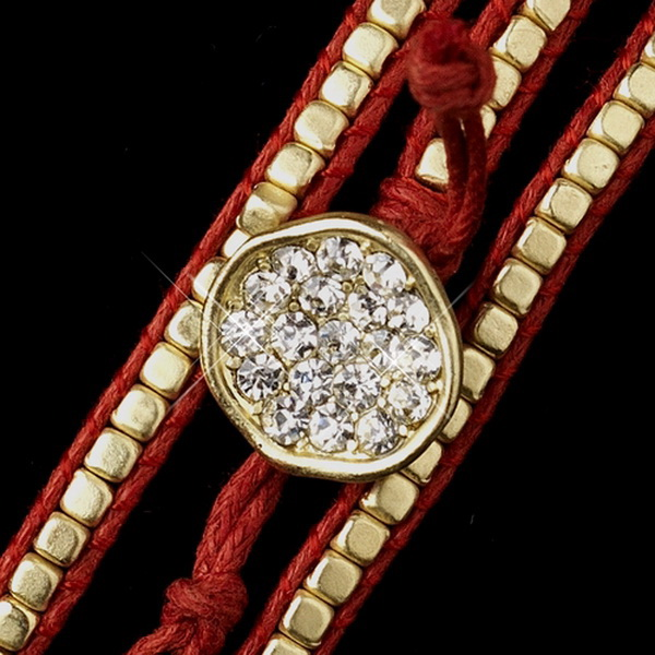 Red Studded Bohemian Wrap Bracelet with Rhinestone Adornment 8862