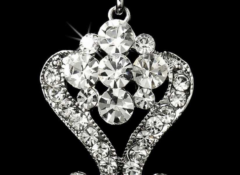 Beautiful Crystal Chandeleir Earrings E 1031 Silver Clear