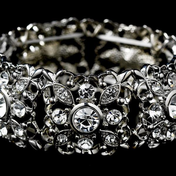 Silver Clear Crystal Stretch Vintage Bracelet B 968