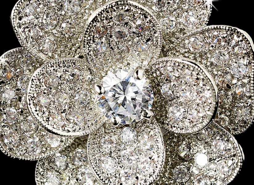 Fabulous Silver Clear CZ Flower Ring 8228