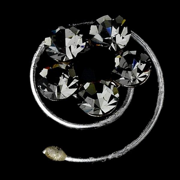 12 Delightful Silver Grey & Black Rhinestone Flower Twist-Ins 01
