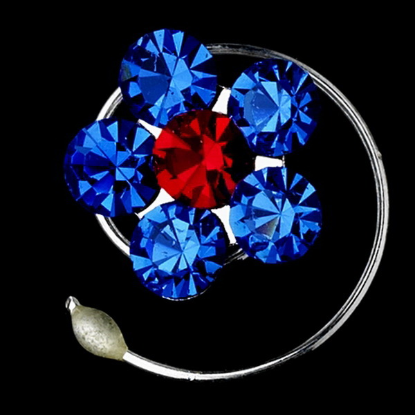 12 Delightful Silver Blue & Red Rhinestone Flower Twist-Ins 01