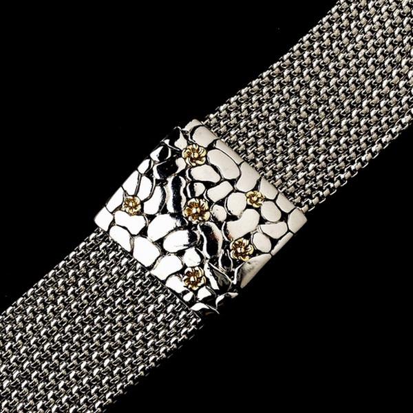 Silver Linked Chain w/ Gold Flowers Bracelet 7971