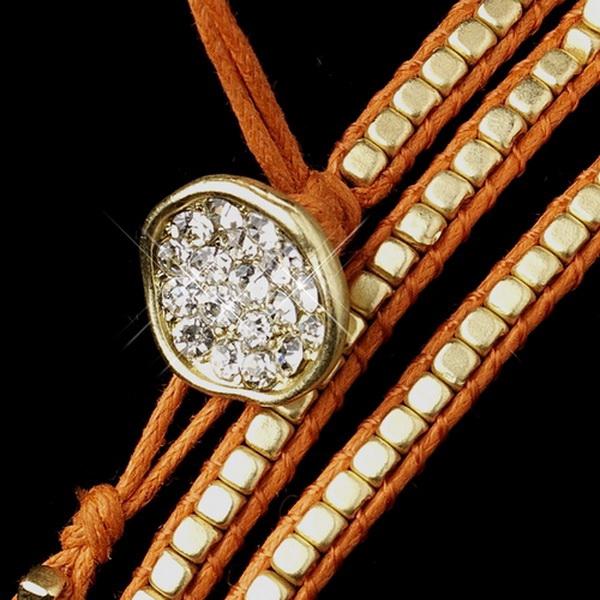 Orange Studded Bohemian Wrap Bracelet with Rhinestone Adornment 8862