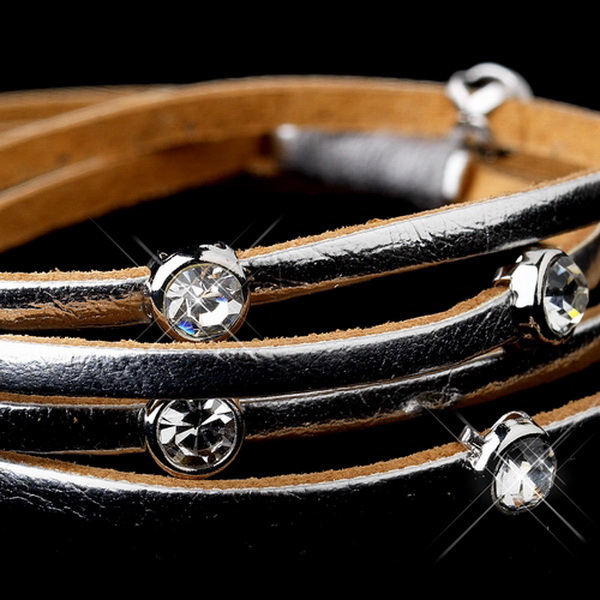 Leather Wrap 3 Strands with Stone Silver Bracelet 8814