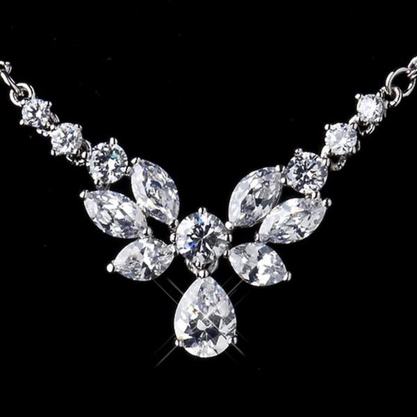 Silver Clear Necklace 9951 & Earrings 9953