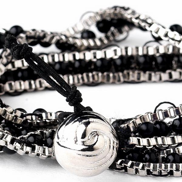 Silver Black Wrap Fashion Bracelet 8831