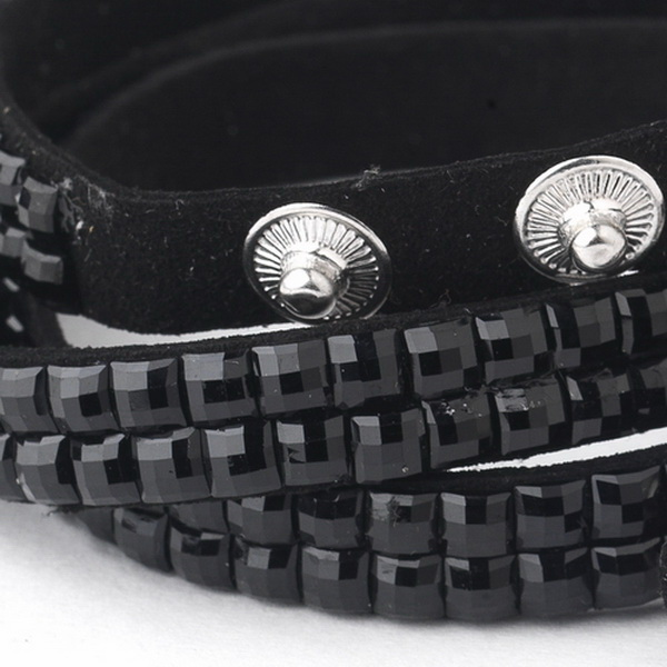 Black with Clear Crystal Wrap Fashion Bracelet 8851