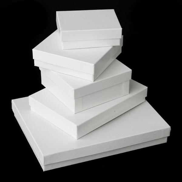 "White Presentation Jewelry Box 3.5"" wide x 1.5"" tall"