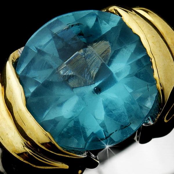 Wonderful Designer Inspired Silver Aqua Round CZ Ring 1246
