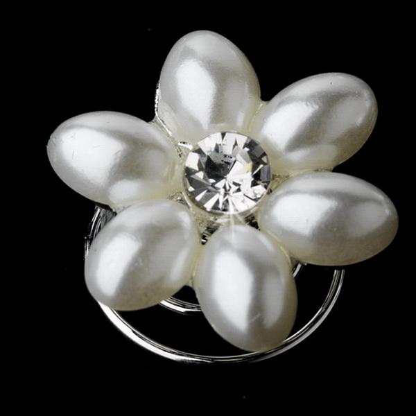 24 Sweet White Pearl & Clear Rhinestone Flower Twist-Ins 0176