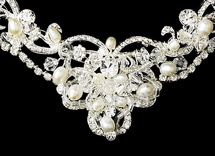 Pearl & Swarovski Crystal Bridal Necklace Earring & Tiara Set 7825