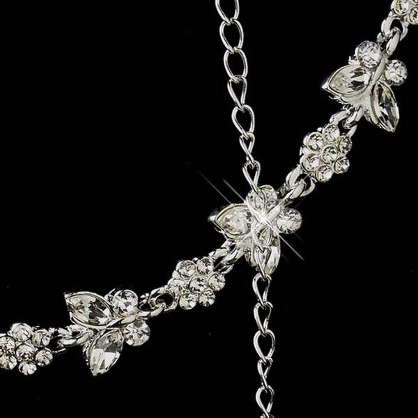 Silver Clear Rhinestone Necklace, Earrings, Bracelet 3 Piece Bridal Butterfly Jewelry Set NE 2876 & B 2876