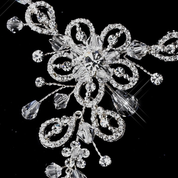 Silver w/ Clear Crystal Sparking Stones on Floral Design Foot Jewelry 3