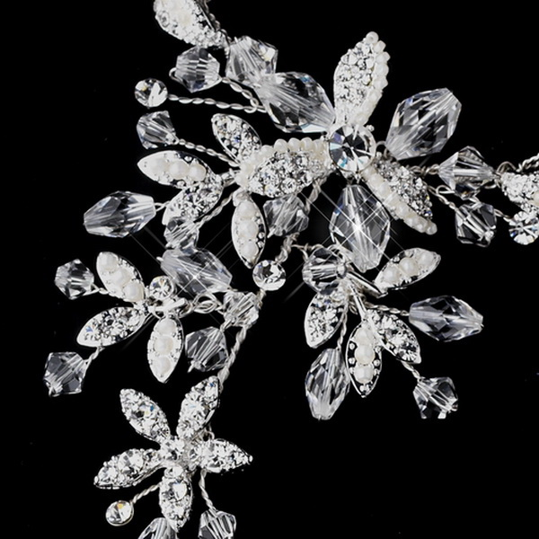 Silver w/ Clear and Ivory Crystal Sparking Stones on Floral Design Foot Jewelry 4