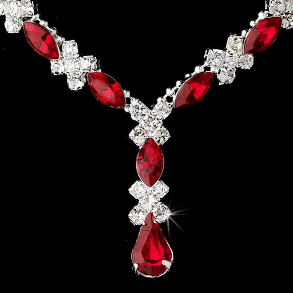 Necklace Earring Set 9235 Silver Red
