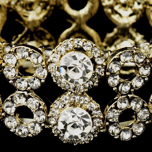 Gold Clear Crystal Stretch Bridal Bracelet 8658
