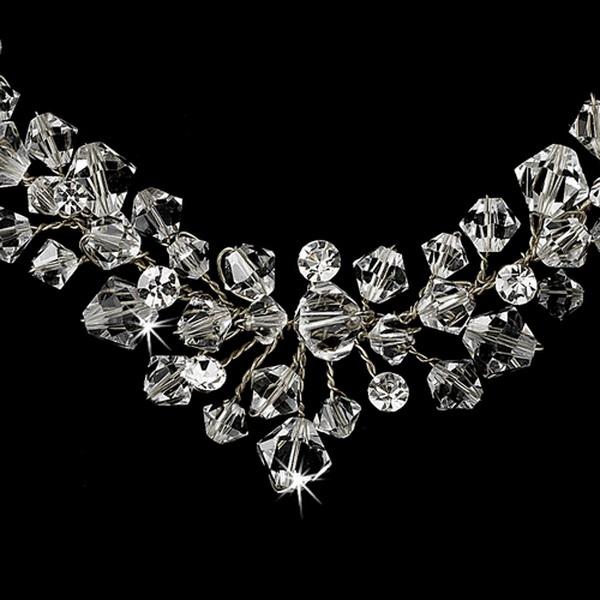 Silver Clear Swarovski Crystal Necklace & Earring Set NE 7602