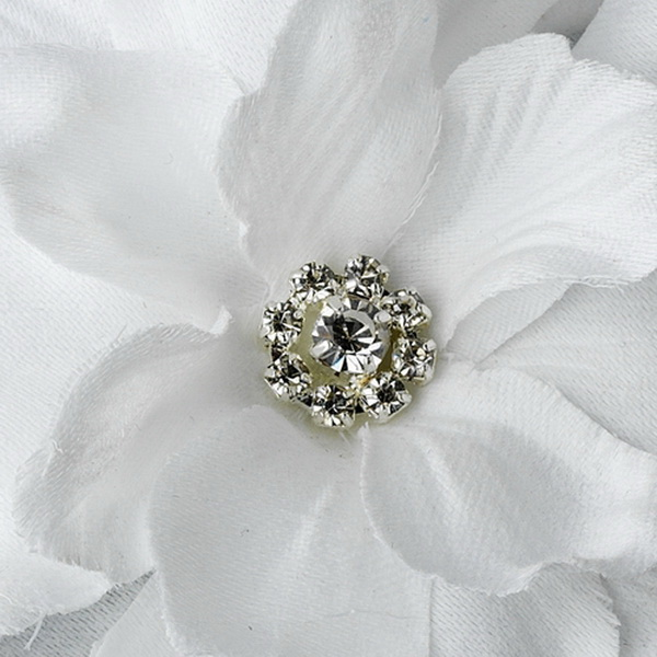 White Jeweled Delphinium Medium Alligator Hair Clip 407 with Brooch Pin