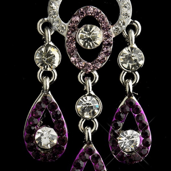 Silver Amethyst & Clear Rhinestone Chandelier Bridal Earrings 8681