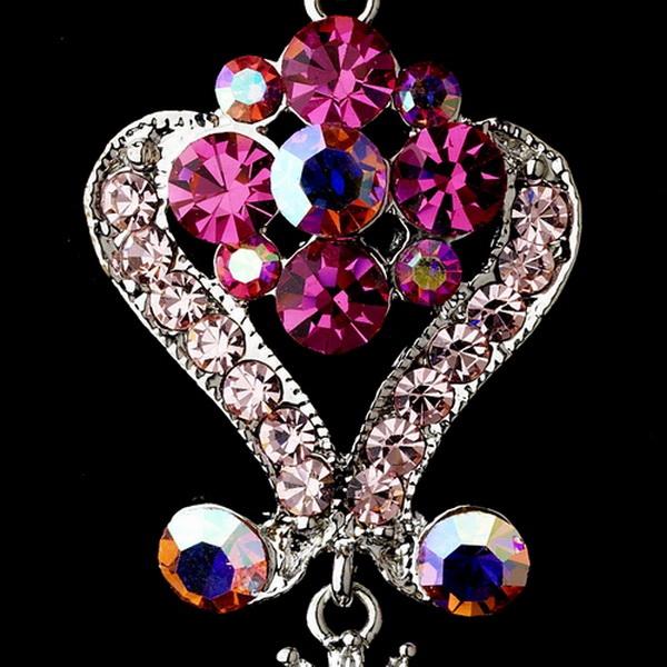 Silver Pink Multi Crystal Chandeleir Earrings 1031