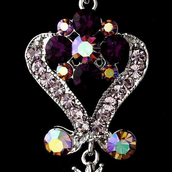 Silver Amethyst Purple Chandeleir Crystal Earrings 1031