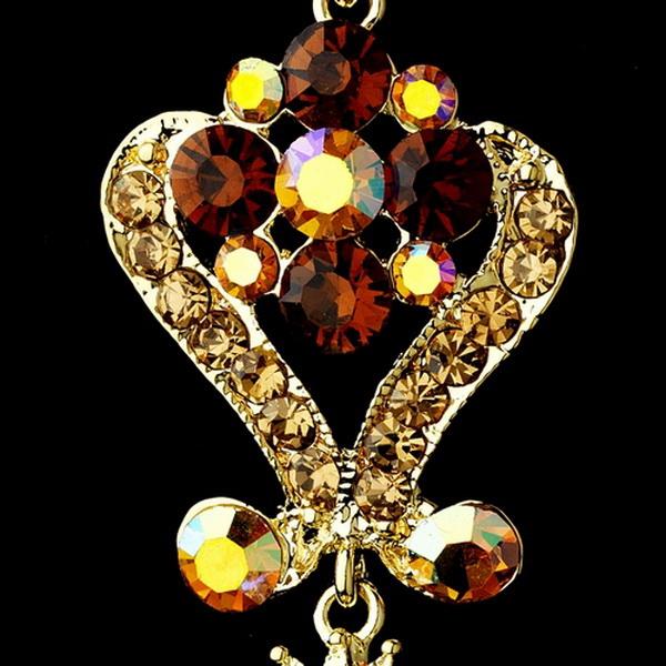 Gold Brown Multi Crystal Chandelier Earrings 1031