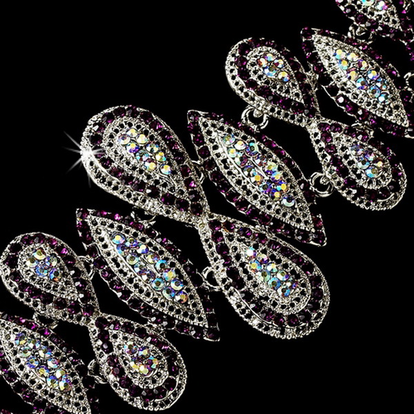 Glamorous Vintage Silver Amethyst Rhinestone Bracelet 8290