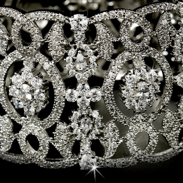 Cubic Zirconia Bridal Cuff Bangle Bracelet 8349 Silver