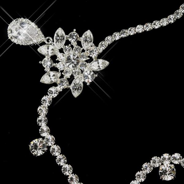 Silver Clear Round Rhinestone Kim Kardashian Inspired Floral Bridal Headband Headpiece 1861