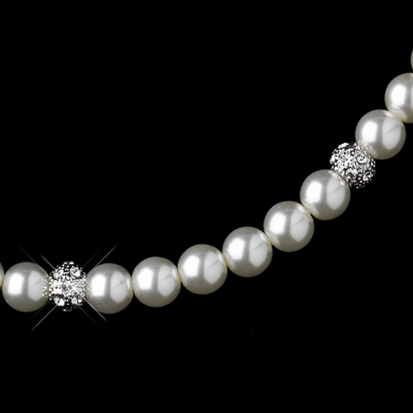 Silver Ivory Pearl & Clear Rhinestone Pave Ball Necklace 8762 and 8761 Bridal Set