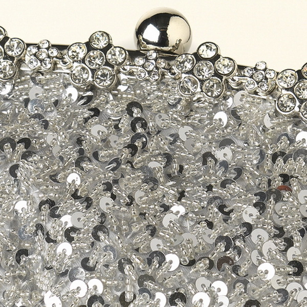 Silver Sequin Evening Bag 325 with Silver Frame & Shoulder Strap