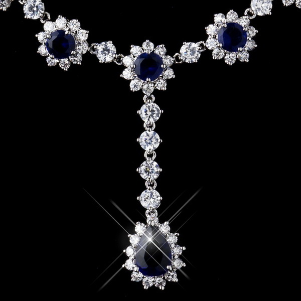 Silver CZ Crystal and Sapphire Stone Necklace 5063 & Earrings 5560 Bridal Jewelry Set