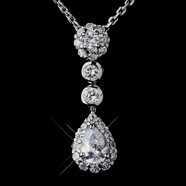 Silver CZ Crystal Chain Link Bridal Necklace 8759