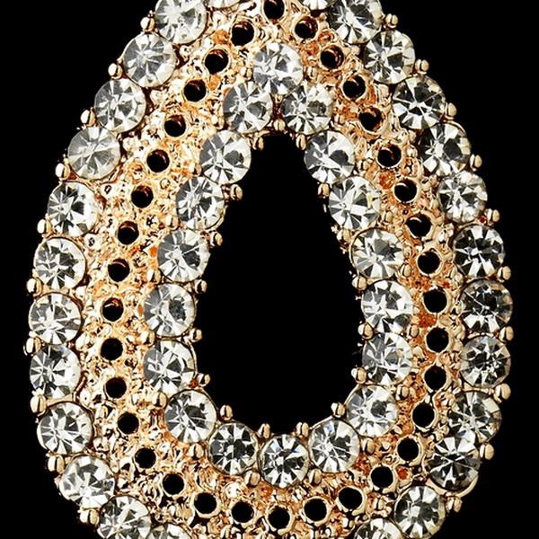 Rose Gold Plated Clear Rhinestone Earrings 1056
