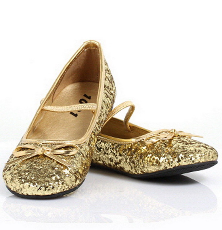 Pleaser Shoes STAR-16GC-Gold-11/12 Sparkle Ballerina (Gold) Child Shoes, Display Size: Small (11/12)