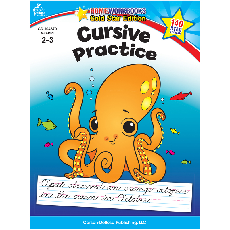 Carson Dellosa CD-104370 Cursive Practice Home Workbook Gr 2-3