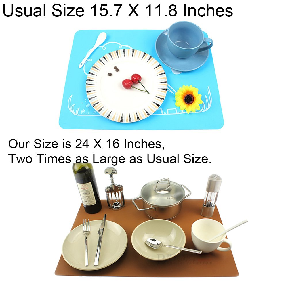 24x16 Aspire Placemat Silicone Extra Large Thick Non Slip Waterproof Table Mat