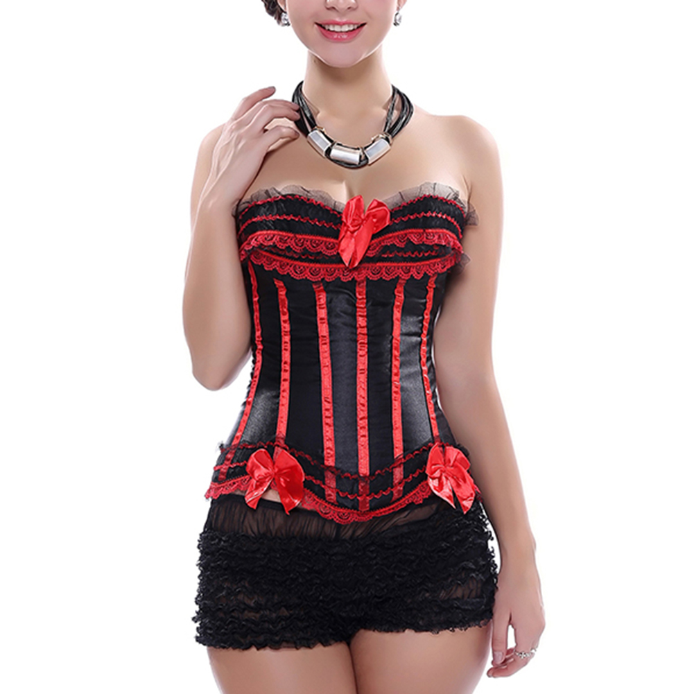 Muka Red Black Fashion Corset With Lace Trim Ribbons & Panty Lingerie, Gift Idea