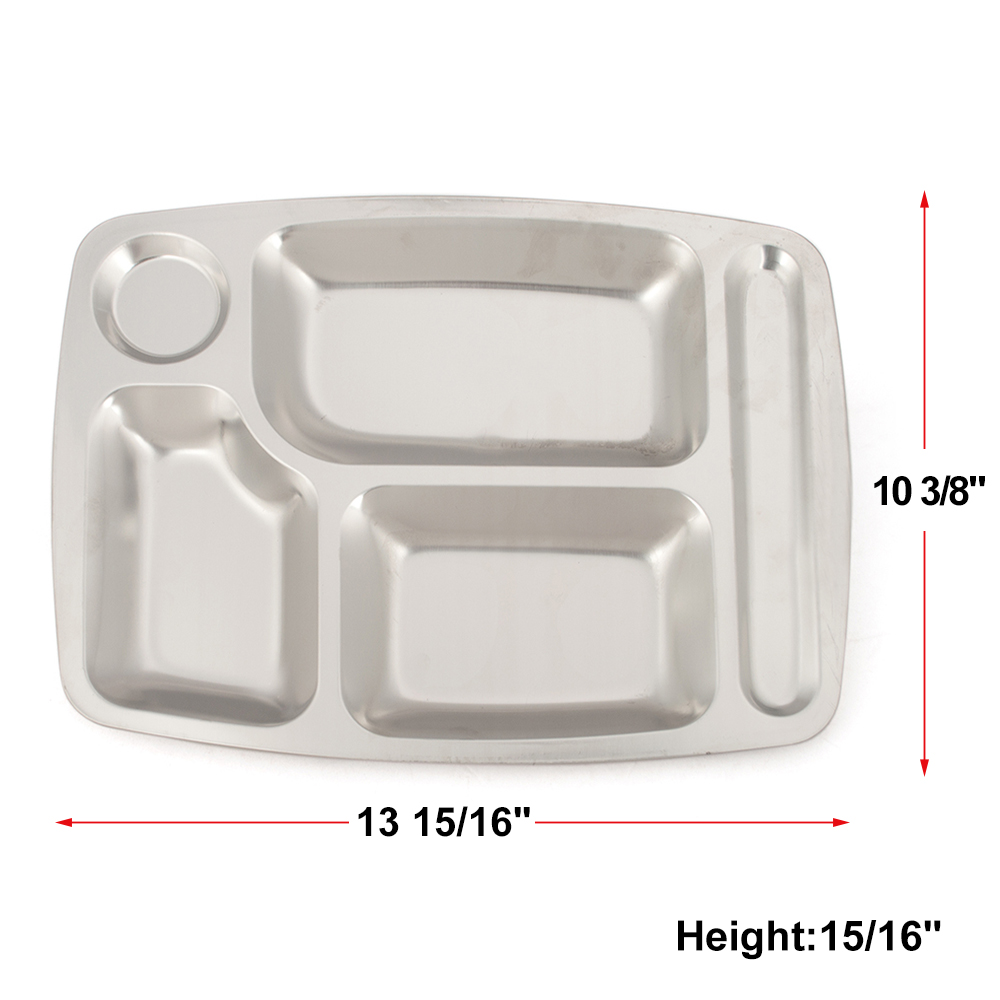 6 Compartments Rectangle Food Serving Tray Silver Metal Divided Plate 4 5