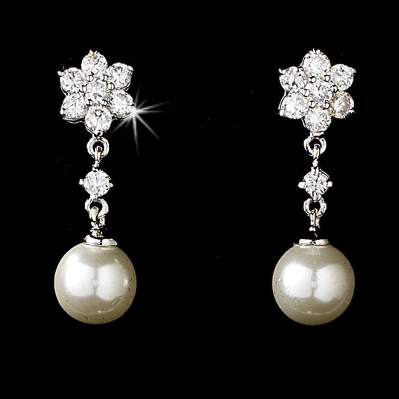 Elegance by Carbonneau E-3631-Silver-Ivory Flower Silver and Ivory Pearl Earrings E 3631