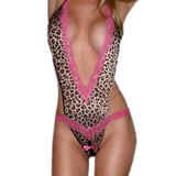 Brown Animal Print Camisole Set With Pink Lace