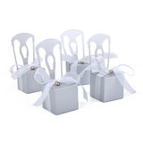 Miniature Silver Chair Favor Box with Heart Charm & Ribbon