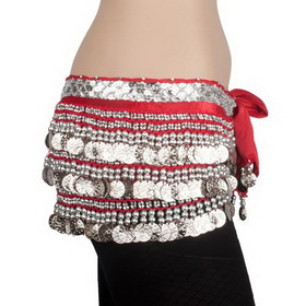 BellyLady Multi-Row 338 Coin Belly Dance Wrap, Silver Coins