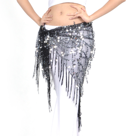 BellyLady Belly Dance Hip Scarf & Shawl With Paillettes And Fringe, Deluxe Tribal V-Shape