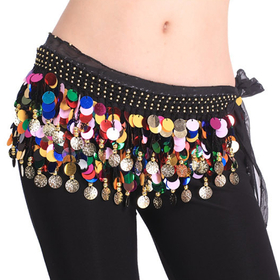 BellyLady Belly Dance Hip Scarf With Colorful Paillettes, Gold Coins Lively Style