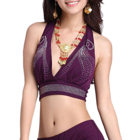 BellyLady Belly Dance Faux Diamond Halter Bra Top