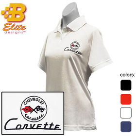 Belite Designs C1 Corvette Embroidered Ladies Performance Polo Shirt Black - XX Large - BDC1EPL111